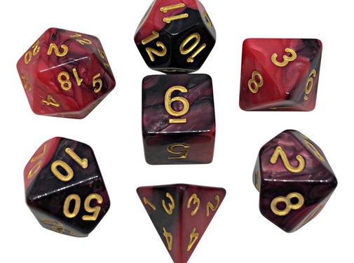 REBL 7-delige Polydice / dobbelstenen Set voor Dungeons & Dragons | Gemêleerd Zwart / Rood