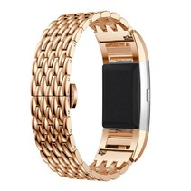 Metalen Dragon Style armband voor Fitbit Charge 2 - Rose Goud
