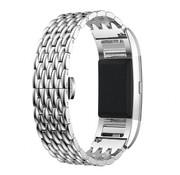 REBL Metalen Dragon Style armband voor Fitbit Charge 2 - Zilver