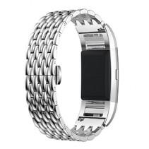 Metalen Dragon Style armband voor Fitbit Charge 2 - Zilver