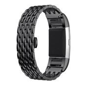 REBL Metalen Dragon Style armband voor Fitbit Charge 2 - Zwart