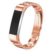 REBL Metalen polsbandje met vlinder sluiting voor Fitbit Alta / Alta HR- Rose Goudkleurig