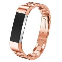 Metalen polsbandje met vlinder sluiting voor Fitbit Alta / Alta HR- Rose Goudkleurig