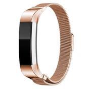 REBL Milanese polsbandje met magnetische sluiting voor Fitbit Alta / Alta HR- Rose Goud