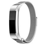 REBL Milanese polsbandje met magnetische sluiting voor Fitbit Alta / Alta HR- Zilver