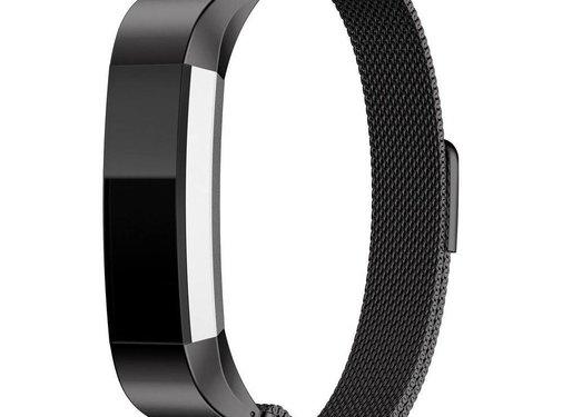 REBL Milanese polsbandje met magnetische sluiting voor Fitbit Alta / Alta HR- Zwart