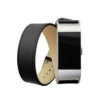 Fitbit Charge 2 lederen polsbandje double tour strap - Zwart