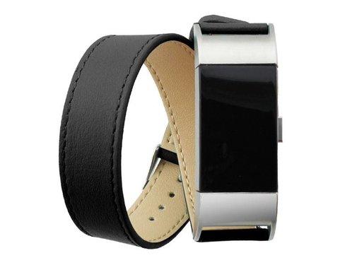 REBL Fitbit Charge 2 lederen polsbandje double tour strap - Zwart