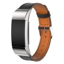 Lederen armband / polsbandje voor Fitbit Charge 2 - Zwart