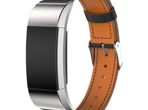 REBL Lederen armband / polsbandje voor Fitbit Charge 2 - Zwart