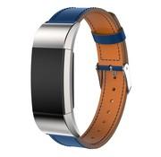 REBL Lederen armband / polsbandje voor Fitbit Charge 2 - Blauw