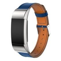 Lederen armband / polsbandje voor Fitbit Charge 2 - Blauw