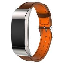 Lederen armband / polsbandje voor Fitbit Charge 2 - Bruin