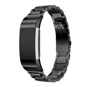 REBL Metalen armband / polsbandje voor Fitbit Charge 2 - Zwart