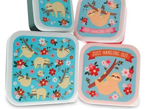 Fizz Creations Luiaard Lunch Box Set - Set van 4 stuks