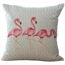 Flamingo kussen hoes met blauw patroon | 45 x 45 cm | Sierkussen kussenhoes | REBL