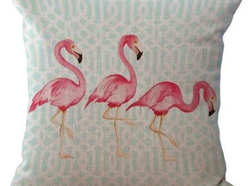 REBL Flamingo kussen hoes met blauw patroon | 45 x 45 cm | Sierkussen kussenhoes | REBL