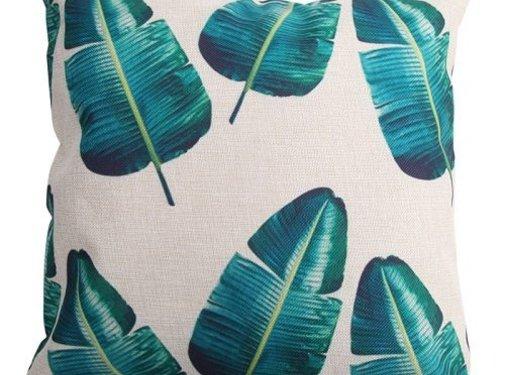 REBL Groene bananen bladeren Kussenhoes | 45 x 45 cm | Sierkussen kussenhoes | REBL