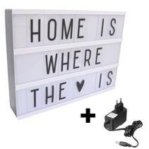 REBL Lightbox A4 - Zwart - Cinema Lightbox met 80 letters, & symbolen + Stroomadapter