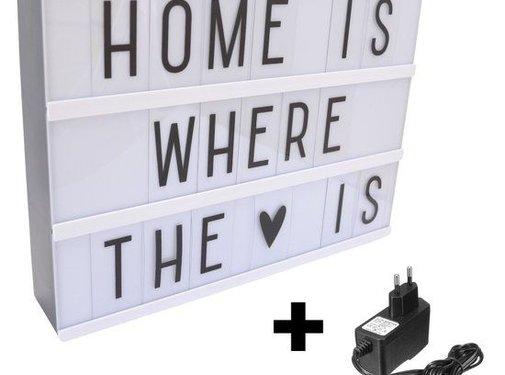 REBL REBL Lightbox A4 - Zwart - Cinema Lightbox met 80 letters, & symbolen + Stroomadapter