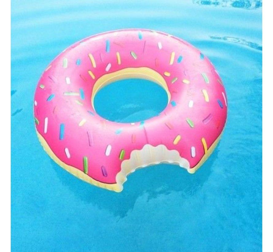 Grote opblaasbare roze donut zwemband - 100 CM