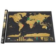 REBL Kras wereldkaart / Scratch Map Deluxe | Zwart - Goud