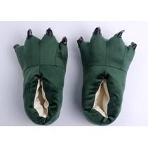 Groene poot pantoffels - Leuke Groene sloffen passen perfect bij de Groene Draak Onesie - One sieze fits most