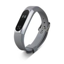 Siliconen sportbandjes voor de Xiaomi Band 2 met metalen frame - Grijs + Zilver