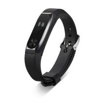 Siliconen sportbandjes voor de Xiaomi Band 2 met metalen frame - Zwart + Zwart