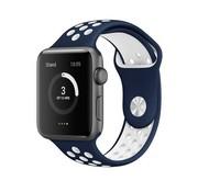 REBL Siliconen Sport + bandje voor de Apple Watch - Blauw / Wit