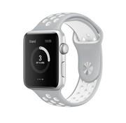 REBL Siliconen Sport + bandje voor de Apple Watch - Grijs / Wit