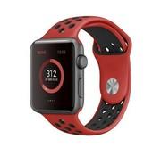 REBL Siliconen Sport + bandje voor de Apple Watch - Zwart / Rood
