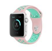 REBL Siliconen Sport + bandje voor de Apple Watch - Roze / Turquoise