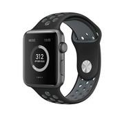 REBL Siliconen Sport + bandje voor de Apple Watch - Zwart / Grijs