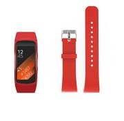 REBL Siliconen polsbandje voor de Samsung Gear Fit 2 SM-R360 met gespsluiting  - Rood