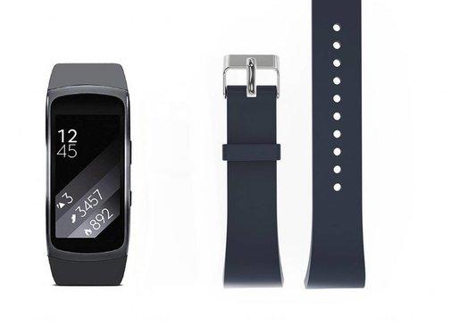 REBL Siliconen polsbandje voor de Samsung Gear Fit 2 SM-R360 met gespsluiting  - Steengrijs