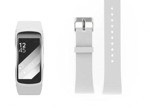 REBL Siliconen polsbandje voor de Samsung Gear Fit 2 SM-R360 met gespsluiting  - Wit