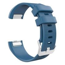 Siliconen polsbandje voor de Fitbit Charge 2 Maat L - Blauw / Grijs