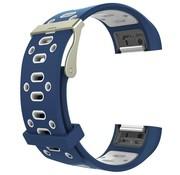 REBL Siliconen Sport polsbandje voor de Fitbit Charge 2  Maat S - Blauw/Wit