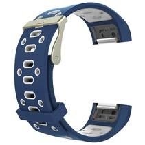 Siliconen Sport polsbandje voor de Fitbit Charge 2  Maat S - Blauw/Wit