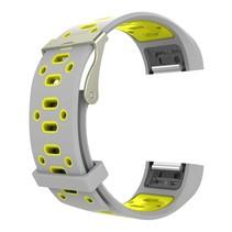 Siliconen Sport polsbandje voor de Fitbit Charge 2  Maat S - Grijs/Geel