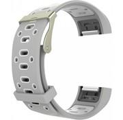 REBL Siliconen Sport polsbandje voor de Fitbit Charge 2  Maat S - Grijs/Wit