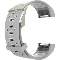 Siliconen Sport polsbandje voor de Fitbit Charge 2  Maat S - Grijs/Wit