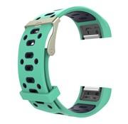 REBL Siliconen Sport polsbandje voor de Fitbit Charge 2  Maat S - Mint Blauw