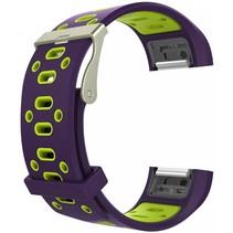 Siliconen Sport polsbandje voor de Fitbit Charge 2  Maat S - Paars/Groen