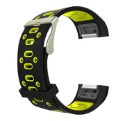REBL Siliconen Sport polsbandje voor de Fitbit Charge 2  Maat S - Zwart/Geel