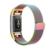 REBL Fitbit Charge 2 Milanese Horloge Bandje met magneetsluiting - Maat M - Regenboog
