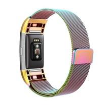Fitbit Charge 2 Milanese Horloge Bandje met magneetsluiting - Maat M - Regenboog