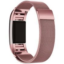 Fitbit Charge 2 Milanese Horloge Bandje met magneetsluiting - Maat M - Roze