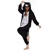 REBL Zwarte Kat Onesie voor volwassenen - Zwarte Kat Kigurumi Pyjama